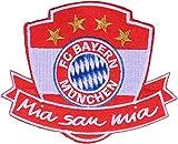 Aufnäher FC Bayern München Mia San Mia - 7 x 10 cm + gratis Aufkleber, Flaggenfritze®