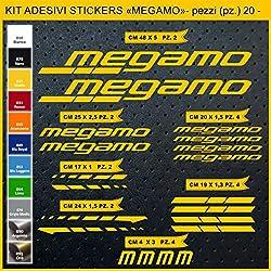 Kit Pegatinas Stickers Bicicleta MEGAMO -20 piezas- Bike Cycle Cod. 0831 (021 GIALLO)