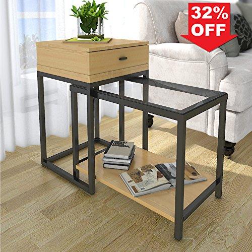 Lifewit Table d'Appoint Moderne à 2 Pièces avec Tiroir Rangement Combiné Table Basse Bout de Canapé en Verre Bois