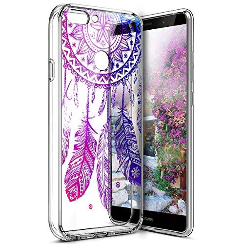 Coque Huawei Enjoy 7S,Étui Huawei P Smart,Surakey Huawei Enjoy 7S / Huawei P Smart Coque Transparente Silicone Gel TPU Souple Housse Etui de Protection Bumper avec Absorption de Choc et Anti-Scratch avec Dessin de Belle Fleur Papillon et Animaux Mignons Etui de Protection Cas en caoutchouc Premium Crystal Clear Flex Soft Touch Skin Ultra Mince Slim Téléphone Couverture TPU Case Coque Housse Étui pour Huawei Enjoy 7S / Huawei P Smart - Dreamcatcher