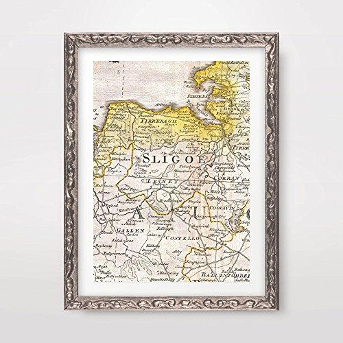 19edbe2433 SLIGO COUNTY IRELAND IRISH MAP VINTAGE ANTIQUE HISTORICAL ART PRINT POSTER  Home Decor Wall Picture A4 A3 A2 (10 Sizes)