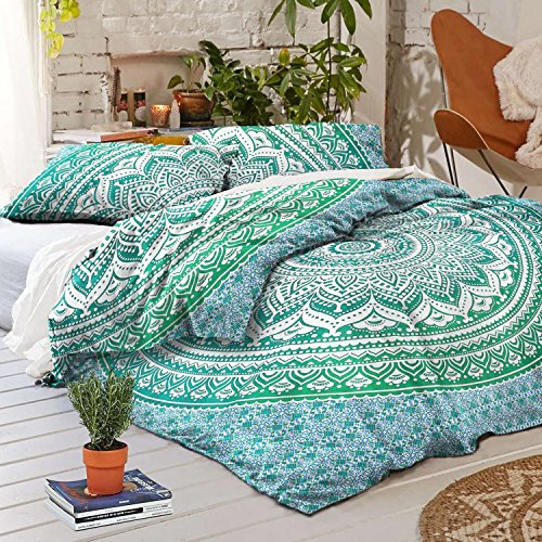 THE ART BOX Green Ombre Indischen Bettbezug Bettwäsche Tagesdecke 3 Stück Baumwolle Bettbezug Set Queen Size 85x90 Zoll (3 Queen-size-schlafzimmer-set Stück)