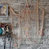 Gemini_mall nautischen Fisch Net mit Muscheln Mediterraner Stil für Home Dekoration blau, 2X 1Meter, beige, 100cm x 200cm