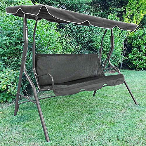Tenzo-R 37456 Hollywoodschaukel Gartenschaukel Outdoor Indoor 3 Sitzer mit Dach Grau