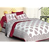 Jaipuri Haat Traditional Block Print Cotton Double Bedsheet With 2 Pillow Covers - King