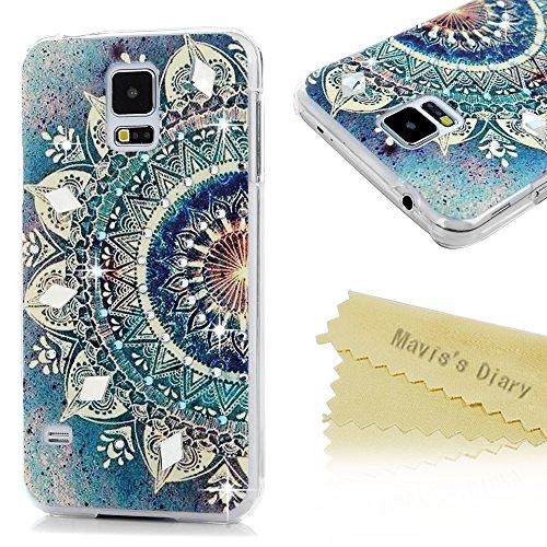 Mavis's Diary Case für Samsung Galaxy S5 9600 I9600 Tasche PC Hardcase Plastik Glanz Glitzer-Strass Case Schutzhülle Drucken Blumen mit Bling Strasstein Handmade Durchsichtig Bumper Handycover Handyhülle