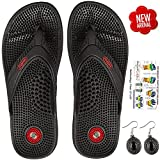 Escor Combo Kit Acupressure Slippers Sandals Unisex for Pain Relief & Total Health Care Useful for Heel Knee Leg Pain Sciatica Cramps Migraine Depression + Reflexology Chart + One Pair Earring Set -UD (6, Black)