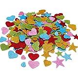 Zhehao 400 Pièces Autocollants en Forme de Coeur en Mousse Décalques de Paillettes Auto-Adhésifs Stickers de Saint Valentin pour Artisanat de Mariage de Saint Valentin