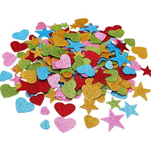 Zhehao 400 Stücke Herz Form Aufkleber Schaum Glitter Abziehbilder Selbstklebende Valentinstag Aufkleber für Valentinstag Hochzeit Handwerk
