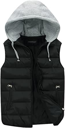 Mens Gilets Quilted Body Warmer Light-Weight Hooded Sleeveless Jacket Outdoor Waistcoats