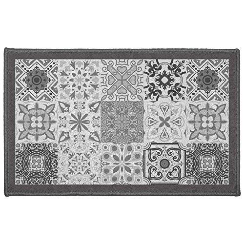 Déco Tapis alfombra Déco Rectángulo, Poliéster, Gris, 50x 80cm)