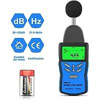 HoldPeak Sonomètre Decibelmetre 882A (30-130 dBA/dBC) avec Rétroéclairage LCD, Maintien Maximum, Réglage de la Sensibilité et Commutateur, pile 9V Incluse