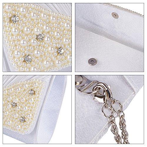 Emour Frauen Satin gefaltet Rhinestone Hochzeitsfeier Prom Abend Handbags Clutch Bag (EMT017) EMT-036-White