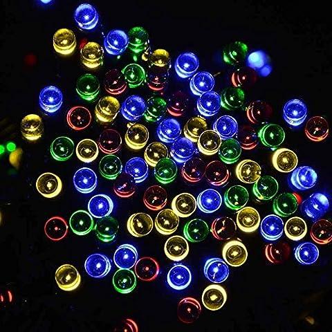 HanLuckyStars Nuevo Hot Ornamentos de Navidad 12m 100LED Luces LED de Solar ,Ideal para Fiesta de Navidad/Boda/Velada,Casa,Árbol de Navidad y calle-Multicolor