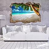 murando® Ilusion Optica 3D 140x100 cm Fotomurales Papel pintado Pared 3D Papel tejido no tejido Poster Panorama Cuadro Playa Mar c-C-0106-t-a