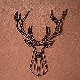 GRAVURZEILE Origami Hirschkopf V2 aus Holz - in verschiedenen Farben & Größen - Moderne Wand-Deko & Eyecatcher - Farbe Schwarz, Größe Größe: L (23,5 x 32,1 cm)