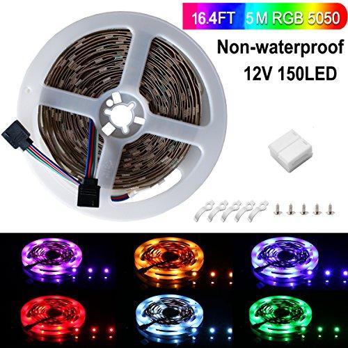 Ruban LED, Sparke 5M 5050 RGB Multicolore SMD 150 LED Bande Flexible Lumineux Strip Light pour Décoration Intérieure, Eclairage Design et Moderne Salon, TV, Bar, meubles