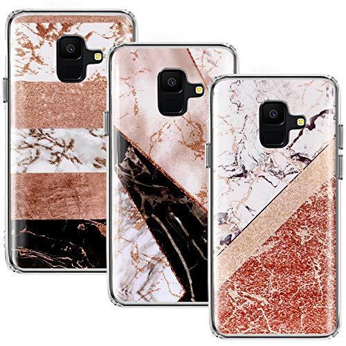 CLM-Tech kompatibel mit Samsung Galaxy A6 2018 Hülle 3X, TPU Silikon-Hülle Case Schutzhülle Handyhülle 3er Set, Marmor Mehrfarbig