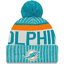 New Era NFL Sideline Bobble Knit Miami Dolphins Gorro, Hombre, Azul, Talla Única