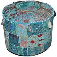 Indian Pouf Stool Vintage Patchwork Embellished With Patchwork Living Room Ottoman Cover, 46 X 33 Cm by Marubhumi