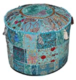 Indian Pouf Stool Vintage Patchwork Embellished With Patchwork Living Room Ottoman Cover, 46 X 33 Cm...