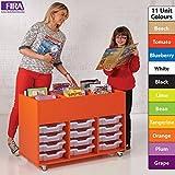 Colourbox Kinderbox école Plateau peu profond Housse de meuble de rangement/livre chariot avec 12plateaux Translucide–11couleurs au choix, incl. blueberry