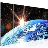 Bilder Planet Erde Wandbild 200 x 80 cm Vlies - Leinwand Bild XXL Format Wandbilder Wohnzimmer Wohnung Deko Kunstdrucke Blau 5 Teilig - MADE IN GERMANY - Fertig zum Aufhängen 601055a