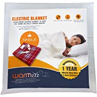 Warmzzz Wool Electric Blanket for Single Bed. Shock-Proof Blanket Heater with 4 Heat Settings - Checks