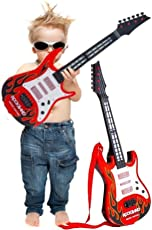 Sceva Kid's Battery Operated Music and Lights Rock Band Guitar (Multicolour)