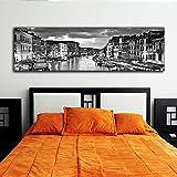 Schwarz und Weiß Panorama Städte 35,6x 121,9cm Leinwand–Venedig City 35,6x 121,9cm Wandschmuck Fotografie Bild gedruckt auf Leinwand gespannt und gerahmt fertig zum Aufhängen von Bild It auf Leinwand