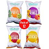 Timios Snacks Mix Flavours Pack of 12 | Banana and Honey -3, Carrot and Cumin -3, Tomato and Cheese -3 and Spinach and Lime -