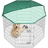 Pet PlayPen Dog Puppy Cage Folding Run Fence Garden Crate Indoor/Outdoor (8 Sided Tall) & FREE Cover