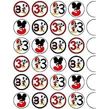 24 x 3er Bithday Mickey Mouse comestible para cupcakes