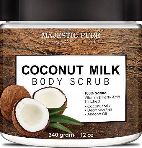 Coconut Milk Body Scrub from Majestic Pure is 100% Natural Scrub - Exfoliates, Moisturizes, Soothes and Promotes Glowing and Radiant Skin - 12 Oz by Majestic Pure