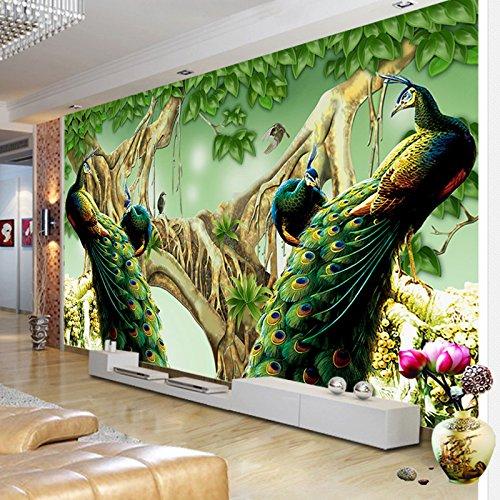 *Rureng Im Europäischen Stil Pfau Wald Foto Tapete Wohnzimmer Fernseher Sofa Studie Hintergrund Wandmalerei Wandmalerei 3D 350X250Cm*