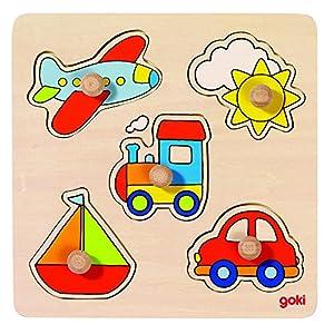 Goki-57547 Puzzles de Madera Encaje Viaje, Basic, (4013594575478)