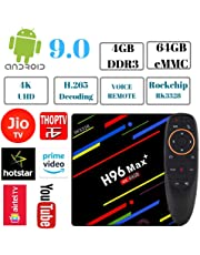 PHANTIO H96 MAX+ 4K Smart TV Box - Jio TV Hotstar Android 9.0 Bluetooth HDMI2.1 Rockchip RK3328 Quad-core CPU Penta-core Mali-450MP GPU (4GB / 64GB with Voice Remote)