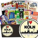 I love Köln | Spezialitätenset | Geschenkbox | I love Köln | INKL Markenbuch | Ostalgie Set | Geschenk Paar Köln | mit Schlagersüßtafel, Pfeffi Stangen und mehr