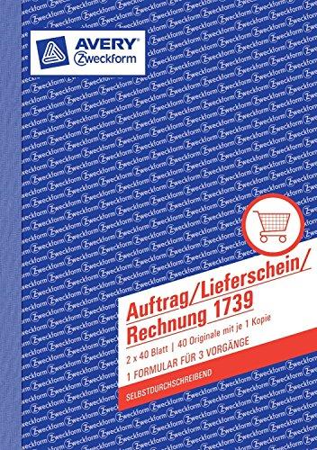 10er Sparpack Avery Zweckform Auftrag/Lieferschein/Rechnung, 1. und 2. Blatt bedruckt, SD, DIN A5, 2x40 Blatt (10)