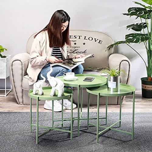 WEII Nordic Style Tablett Schmiedeeisen Kleine Runde Tisch Kreatives Sofa Schmiedeeisen Tablett Kleiner Couchtisch Moderner minimalistischer Kaffee Kleiner Runder Tisch,Grün,DREI Sätze - Grüner-kaffee-tisch