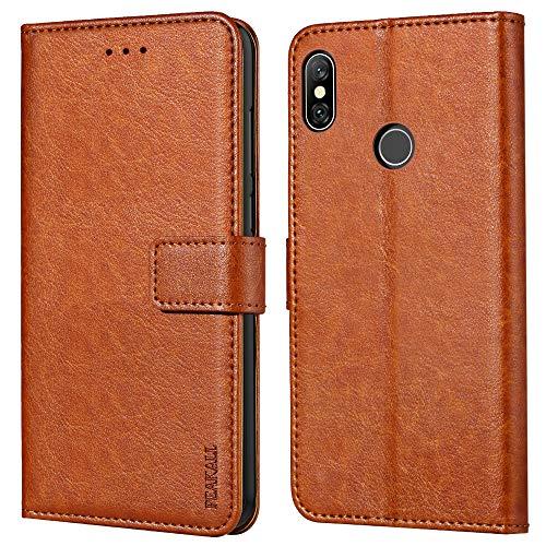 Peakally Xiaomi Redmi Note 6 Pro Hülle, Premium Leder Tasche Flip Wallet Case [Standfunktion] [Kartenfächern] PU-Leder Schutzhülle Brieftasche Handyhülle für Xiaomi Redmi Note 6 Pro-Braun