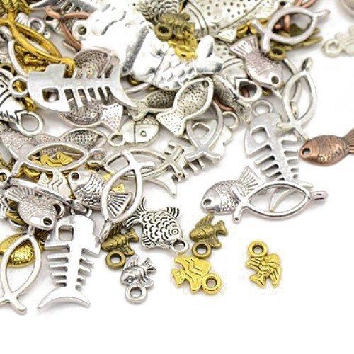 cht Tibetanische ZufälligeMischung Charms (Fisch) - (HA07340) - Charming Beads (Fisch Charms)