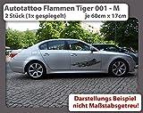 Autotattoo Flammen Tiger 001 - M (2 Stück - 1x gespiegelt) - je 60cm x 17cm - Auto Aufkleber