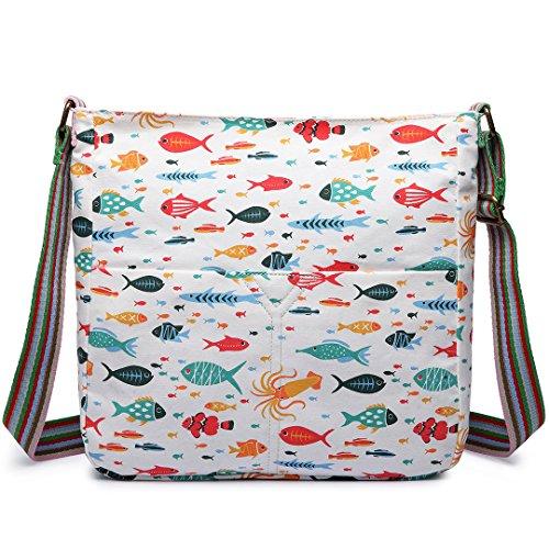 Miss Lulu Damen Leinwand Tasche Schultertasche Cross Body Messenger Bag Tupfendruck Elefant Katzen Eule Blumen Gepunktet Schmetterling Schulranzen Satchel Fisch Beige
