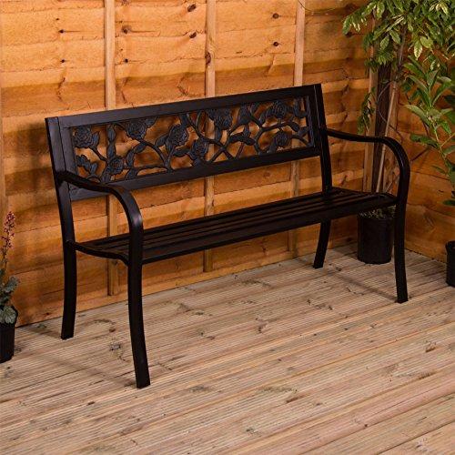 Gartenbank aus Stahl, Rosen Design 3 Sitzer Außenbereich Möbel Möbelstück Sitzmöglichkeiten...