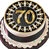 Essbares Zuckerpapier, Runder Tortenaufleger zum 70. Geburtstag, 19,5 cm Durchmesser, Vorgeschnitten, Schwarz und Gold, Z07