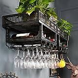 Wine Rack - Wall Mounted Eisen Loft Industrial Vintage Weinflasche und Weingläser Loft Display Rack schwarz 100x35x27cm Felice Home