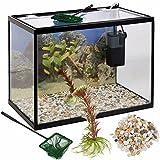 URBN Living 18 Litre Glass Aquarium Fish Tank Starter Set With Filter Pump Net Plant Stones