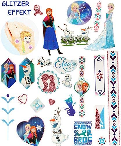 Unbekannt 25 TLG. Set: große Haut Tattoo -  Disney die Eiskönigin - Frozen  - Hauttattoo - Mädchen für Kinder - völlig unverfroren Prinzessin ELSA Anna Arendelle - ()