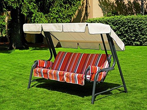 Ideapiu Balancelle de Jardin, Bascule avec imbottituracon revêtement Rayures, balancelle 4 Places, Bascule